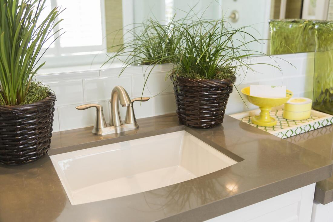 a clean bathroom countertop